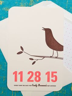 Modern Letterpress Bat Mitzvah Invitation