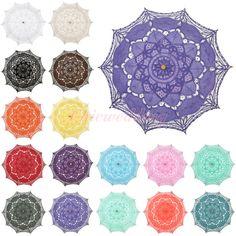 16 Colors Cotton Battenburg Lace Parasol Umbrella for Wedding Party Decoration #Unbranded #ParasolUmbrella
