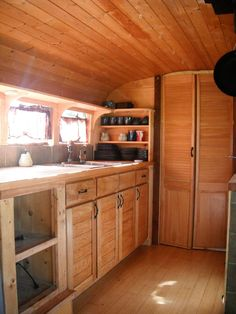 Retired city bus converted into tiny living space Two women with creative…