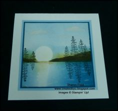 step by step through the process to create this Sunrise Lake Brayer and Sponged Card - bjl