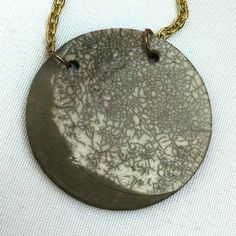 Gibbous moon necklace/ Ceramic clay pendant on 28 inch chain/ Raku pottery jewelry, lunar phase, gray and white