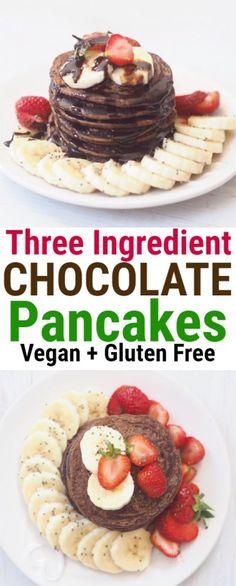Four Ingredient Chocolate Vegan Pancakes #healthy #breakfast #glutenfree #chocolate #pancake #easy #banana #oats #strawberry
