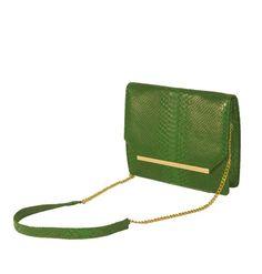 Nova Voce Green  Croco Skin Slingbag with Gold Bar