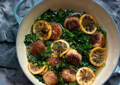 Gluten-Free Chicken Meatballs with Braised Lemon and Kale - yakitori technique Kale Recipes, Gluten Free Recipes, Chicken Recipes, Dinner Recipes, Cooking Recipes, Healthy Recipes, Whole30 Recipes, Meatball Recipes, Recipies