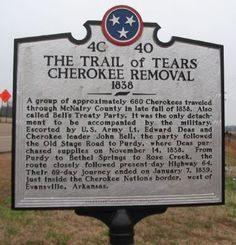 The Trail of Tears passed right by, and possibly even through, where we are living now.  Crazy to think about all of this happening here.