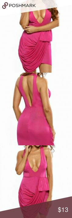 Pink Deep V Neckline Front Draped Club Dress Super stunning! Pair this Pink Deep V Neckline Front Draped Club Dress with black or metallic high heels to rock the party, all eyeballs will move as your footsteps and every jaw knocks down by your sides.  Dresses