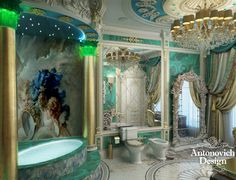 This interior is filled with design solutions - stucco, paintings on the ceiling and walls, the floor, created by designers. Notice how the leather panel emphasizes the comfort, which plays in tune with the original chandelier ... Here turquoise rain ornaments flower patterns...