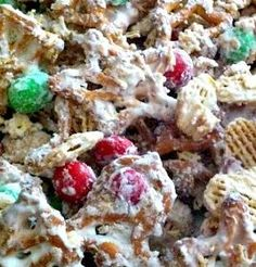 ~Christmas White Trash~  Ingredients: 24 oz. vanilla flavored candy coating (almond bark) 6 cups Kellogg's Crispix cereal 3 cups Christmas shaped pretzels 16 oz. M&M'S Peanut Butter Chocolate Candies, or Peanut Chocolate Candies, or Plain Chocolate Candies in Christmas Colors
