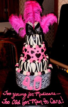 Zebra and hot pink with ostrich feathers birthday cake for a friends wife! 40th Birthday Cakes, 40th Birthday Parties, Birthday Stuff, Special Birthday, Birthday Ideas, Ostrich Feathers, Awesome Cakes, Cute Cakes, 40 Rocks