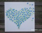 tableau coeur de papillons vert/bleu en papier : Autres art par parabens