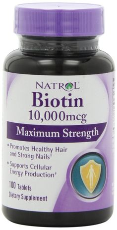 Natrol Biotin 10,000 mcg Maximum Strength Tablets, 100-Count from Natrol    4,468 customer reviews | 102 answered questions #1 Best Sellerin Vitamin B7 (Biotin) Supplements List Price:$9.99 Price:$6.29 ($0.06 / Count) & FREE Shipping on orders over $35. Details You Save:$3.70 (37%)