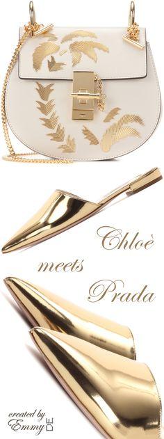 Emmy DE * Chloé 'Drew' Mini Leather Shoulder Bag & Prada Golden Leather Mules SS 2017
