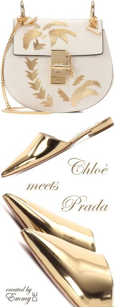Emmy DE * Chloé 'Drew' Mini Leather Shoulder Bag & Prada Golden Leather Mules SS 2017