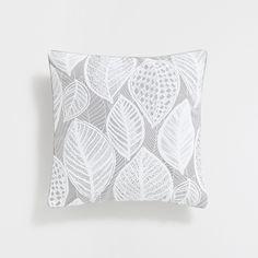 Kissenbezug in Grau aus Leinen mit Blätterprint im Relief - KISSEN - DEKORATION - Home Collection   Zara Home Deutschland