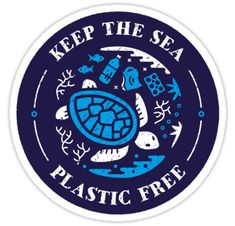 """""""Keep the Sea Plastic Free Marine Scene"""" Stickers by Bangtees Tumblr Stickers, Phone Stickers, Save Our Earth, Save The Planet, Red Bubble Stickers, Cute Stickers, Preppy Stickers, Save The Sea Turtles, Aesthetic Stickers"""