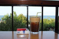 ελληνικο πρωινο- greek breakfast  φραπες + τσιγαρα - frape + cigarettes
