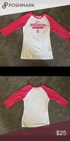 Broncos TShirt Pink and White Broncos 3/4 Sleeve Top Nike Tops Tees - Long Sleeve