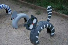 Recycling old tires into playground game ; Tired Animals, Tire Playground, Tire Craft, Tire Garden, Sensory Garden, Used Tires, Tyres Recycle, Outdoor Classroom, Outdoor Fun