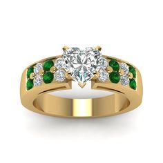 1.25 Carat Heart Diamond Wide Accent Ring Handmade Jewelry with Green Emerald in 14K Yellow Gold exclusively styled by Fascinating Diamonds