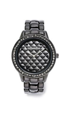 on time & on trend – liz claiborne black quilted watch