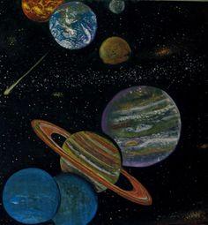Waldorf ~ 6th grade ~ Astronomy ~ Planets ~ chalkboard drawing