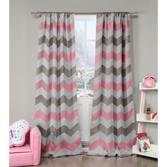 Duck River Fifferly Blackout Rod Pocket Window Curtain Panel Pair (Grey/Pink), Size 84 Inches (Polyester, Chevron)