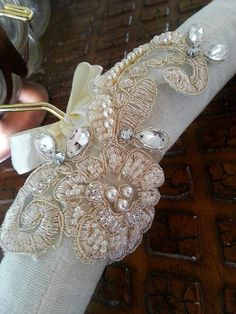 Gold and rhinestone embellished wedding gown hanger by One World Designs Bridal Jewelry