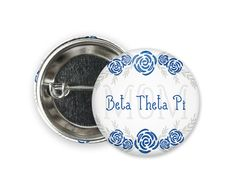 Standard size round pin back style button. Pi Kappa Phi, Alpha Xi Delta, Theta, Engraved Tumblers, Bid Day, Coupon Codes, Different Colors, Size 2, Buttons