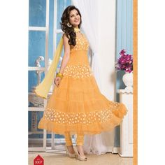 Online Light Orange Outstanding Designer Anarkali Suits