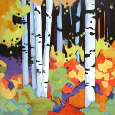 Daily Painting, Strength in Numbers, contemporary tree painting, painting by artist Carolee Clark
