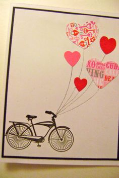 Valentine card  bicycle and heart balloons by OuiStamp on Etsy, $3.00