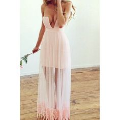 Wholesale Sexy V-Neck Off-The-Shoulder Solid Color Voile Splicing Long Dress For Women Only $10.77 Drop Shipping | TrendsGal.com