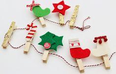 fizzi~jayne makes. : Christmas Card String and Peg Tutorial. Mason Jar Christmas Gifts, Christmas Ornament Crafts, Xmas Crafts, Felt Decorations, Christmas Decorations, Wooden Pegs, Crafty Projects, Paper Clip, Craft Items