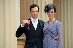 Benedict Cumberbatch and Sophie Hunter pictured after Cumberbatch received a CBE for services to the Performing Arts and to Charity at an investiture at Buckingham Palace.10/11/2015