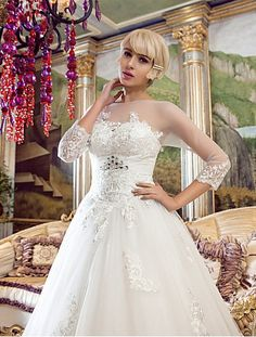 A Line Wedding Dress Sweep Brush Train Tulle Bateau With Crystal Brooch and Appliques Easebuy! Free Measurement!
