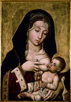 Bartolomé Bermejo (1440–1498), Mare de Déu de la Llet, Oli sobre taula, 58x43 cm | Museu de Belles Arts de València