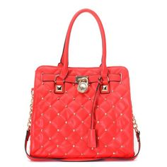 "Michael Kors Large Hamilton Studded Quilted Tote Red * Red quilted, studded leather. * Golden hardware. * Top handles; 4 3/4"" drop. * Chain and leather shoulder strap. * Frame top with logo-engraved lock detail. * Hanging key. * Inside, one zip pocket, three open pockets, and one cell pocket. * Protective feet on bottom. * 13""H x 14""W x 6 1/4""D."