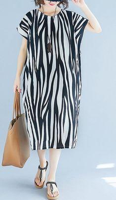 Women loose fit pocket dress zebra stripes animal print tunic short sleeve chic #unbranded #dress