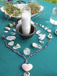 Jewelry incorporated into altar design - in this case an Imbolc altar dedicated to Brigid.