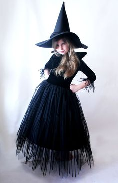 Witch costume by Laura Lee Burch<br> Little Girl Witch Costume, Toddler Witch Costumes, Cute Witch Costume, Kids Costumes Girls, Halloween Costumes For Girls, Diy Costumes, Wizard Costume For Kids, Vintage Witch Costume, Ghost Costumes