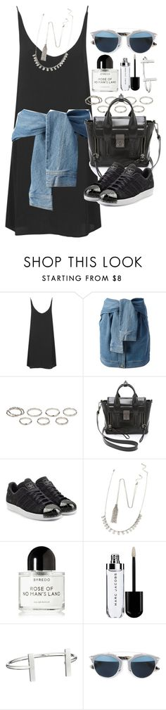 """Outfit with a slip dress and sneakers"" by ferned ❤ liked on Polyvore featuring Topshop, DKNY, Akira, 3.1 Phillip Lim, adidas Originals, Forever 21, Byredo, French Connection and Christian Dior"