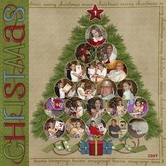 Image detail for -scrapbook ideas / Family Christmas Tree Page...using a round circle ...