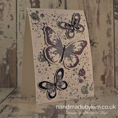 Handmade by Kim Butterfly card using Watercolour wings stamp set, Bold Butterfly Framelit Dies and Butterflies Thinlit Dies by Stampin' Up!