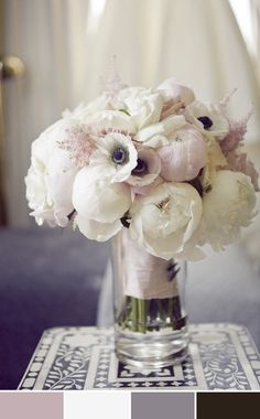 Bouquet w/ color scheme. Blush pink, cream/ivory, silver (could do grey) and black