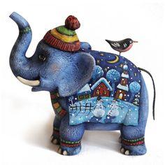 #toy #elephant #Hand-painted #Souvenirs #wood #Miniatures #figurines. #ART #sculpture Игрушки животные, ручной работы. Ярмарка Мастеров - ручная работа. Скульптура. Ручная роспись. Handmade.