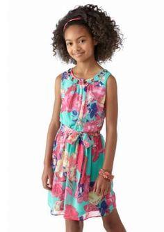 Amy Byer  Lattice Neck Printed Chiffon Dress Girls 7-16