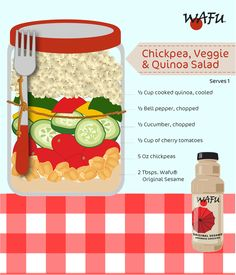 Chickpea Quinoa Salad - Loaded with veggies, this salad gives a starring role to chickpeas and quinoa. Veggie Quinoa Salad, Chickpeas, Cherry Tomatoes, Cucumber, Salads, Stuffed Peppers, Vegetables, Cooking, Kitchen