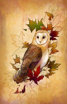 Autumn Barn Owl Fall Leaves Custom Illustration Giclée Print