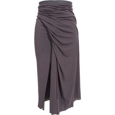 Rick Owens Lilies Faux wrap skirt ($375) ❤ liked on Polyvore featuring skirts, bottoms, rick owens, pleated skirt, elastic waist skirt, midi skirt, mid-calf skirt and pleated midi skirt