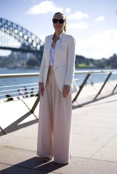 love the combo of blazer and extreme wide pants!  Business woman meets model